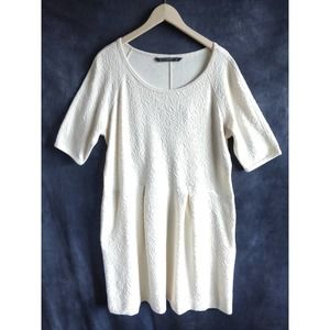 Peruvian Connection Ivory A-Line Pleated Dress XL